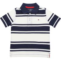 a372ca851 Camiseta Polo Tommy Hilfiger Kids Menino Listrado Azul-Marinho