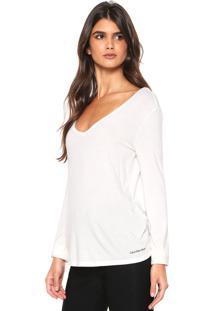 b6462fbec5 Blusa Calvin Klein Jeans Gola V Off-White