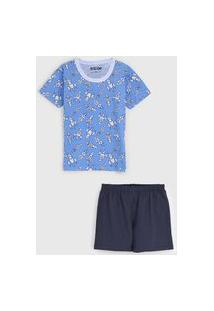 Pijama Tricae Curto Infantil Foguete Azul/Azul-Marinho