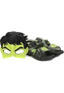 Sandália Infantil Grendene Kids Marvel Hero Com Máscara Masculina - Masculino-Preto+Verde
