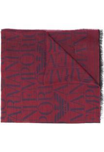 Emporio Armani Echarpe De Tricô Leve Com Logo - Vermelho