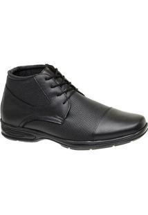 Sapato Botinha Social Couro Dia A Dia Cristaishoes Masculino - Masculino-Preto