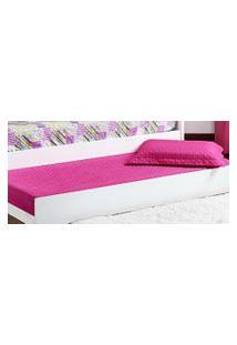 Cobre Leito Prático Solteiro Rosa Pink Matelado Com 2 Peças - Aquarela