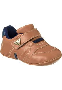 Sapatinho De Bebê Masculino Calce Fácil Klin Velcro - Masculino-Marrom