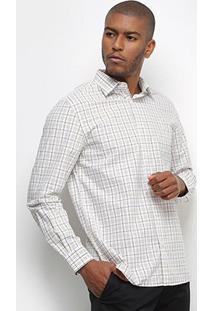 Camisa Xadrez Manga Longa Vr Masculina - Masculino-Cáqui