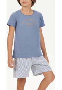 Pijama Para Menino Com Short Listrado 66399 Cor Com Amor