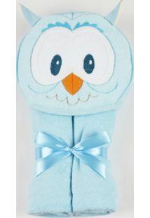 Toalha De Banho Com Capuz Coruja - Masculino-Azul