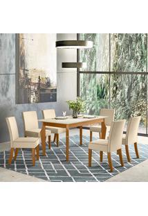 Conjunto De Mesa Com 6 Cadeiras Para Sala De Jantar Vegas-Henn - Nature / Off White / Linho