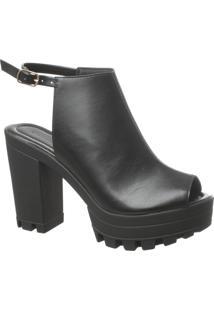 Sandal Boot Preta Com Solado Tratorado