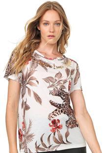 Camiseta Lança Perfume Estampada Off-White/Marrom - Kanui