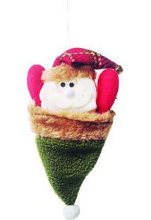 Enfeite De Papai Noel Com Gorro- Verde & Vermelho- 2Cromus
