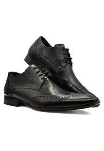 Sapato Social Masculino Derby Oxford Sola De Couro Mod 516 Preto