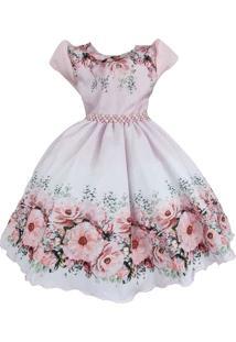 Vestido De Festa Giovanella Infantil Rosa Floral Com Pérolas