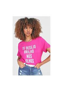 Camiseta Colcci Brilho Nos Olhos Rosa
