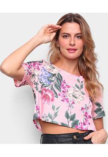Camiseta Lança Perfume Estampada Cropped Feminina - Feminino-Verde Claro