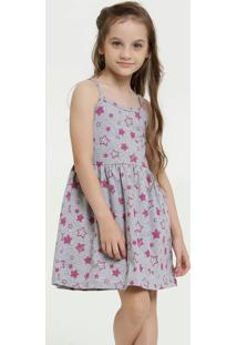 Vestido Infantil Estampa Estrela Alças Finas Marisa