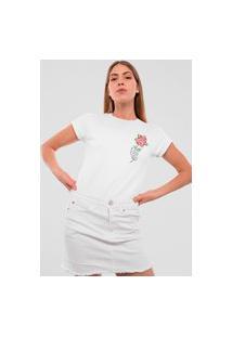Camiseta Feminina Mirat Esqueleto Rosa Vermelha Branco
