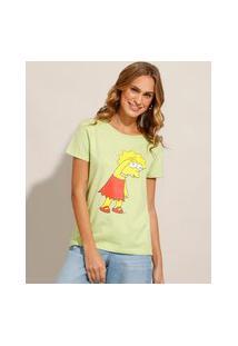 Camiseta Lisa Simpson Manga Curta Decote Redondo Verde