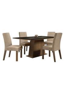 Conjunto Sala De Jantar Madesa Flavia Mesa Tampo De Madeira Com 4 Cadeiras Rustic/Preto/Imperial Rustic