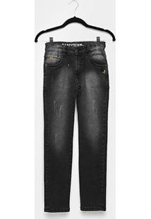 Calça Jeans Infantil Gangster Reta Estonada Masculina - Masculino-Preto