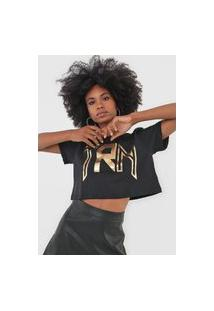 Camiseta Cropped Triton Lettering Metalizada Preta