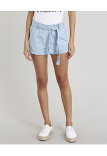 Short Jeans Feminino Clochard Com Faixa De Amarrar Azul Claro