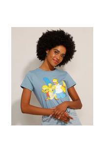 Camiseta De Algodão Os Simpsons Manga Curta Decote Redondo Azul