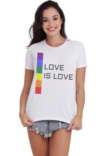 Camiseta Basica Joss Lgbt Love Is Love Branca - Kanui