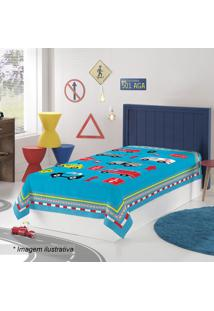 Manta Fleece Solteiro Truck- Azul Claro & Vermelha- Lepper