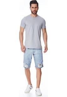 Bermuda Jeans Zait Tradicional Jota Masculina - Masculino-Azul