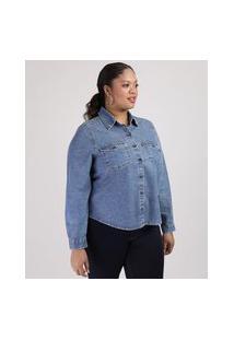 Camisa Jeans Feminina Plus Size Com Bolsos Manga Longa Azul Média