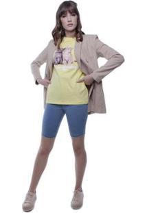 Bermuda Jeans Ciclista Pop Me Feminina - Feminino-Azul