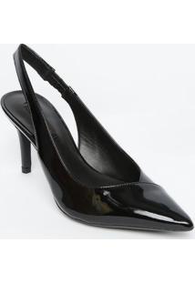 Sapato Chanel Em Couro Com Recortes - Preto - Salto:Jorge Bischoff