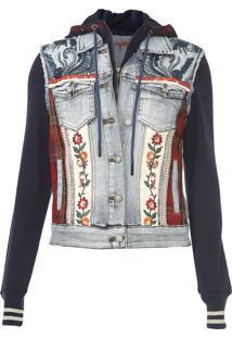Jaqueta Jeans Desigual Floral Azul