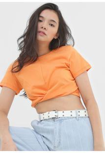 Camiseta Cropped Colcci Torã§Ã£O Laranja - Laranja - Feminino - Algodã£O - Dafiti
