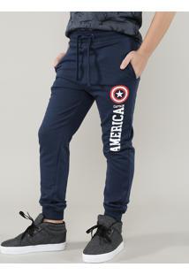 Calça Infantil Em Moletom Jogger Capitão América Com Bolsos Azul Marinho