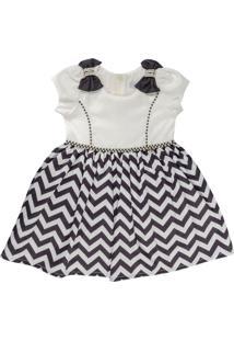 Vestido Infantil Chevron Com Pérolas - Anjos Baby Chic Off-White