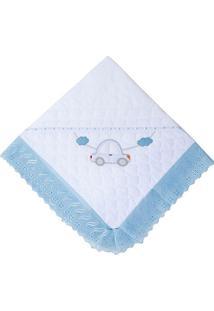 Manta Papi Toys Acolchoada- Branca & Azul Claro- 90Xpapi