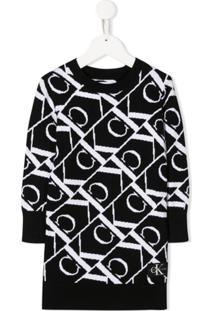 Calvin Klein Kids Vestido De Tricô Com Logos - Preto