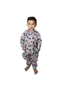 Pijama Macacão Infantil Soft Navio Tamanho 2 Ao 8 Cinza