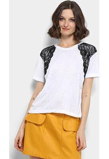 Camiseta Aura Detalhe Renda Feminina - Feminino-Branco