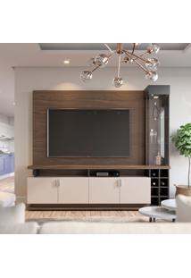 Estante Para Home Theater E Tv Até 75 Polegadas Vivace Nogueira Real E Off White