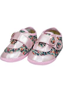 Sapato Floral Perolado Sapatinhos Baby Rosa