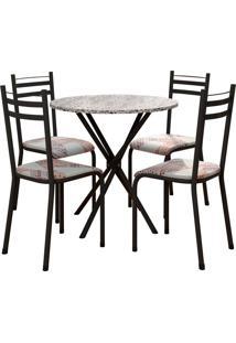 Conjunto De Mesa 80Cm 4 Cadeiras Lyon Preto Fosco Fabone