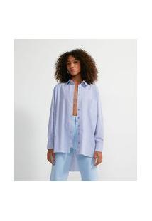 Camisa Em Tricoline Com Listras Oversized E Etiqueta Aplicada That'S Hot   Blue Steel   Azul   G