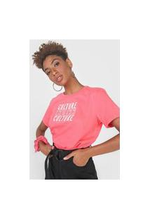 Camiseta Colcci Culture Rosa