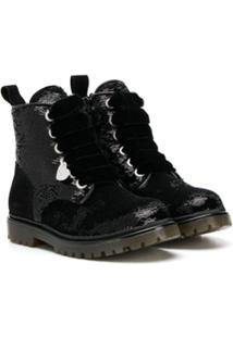 Monnalisa Ankle Boot Com Paetês - Preto