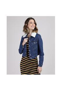 Jaqueta Jeans Feminina Tal Mãe Tal Filha Cropped Com Pelo E Bolsos Azul Escuro