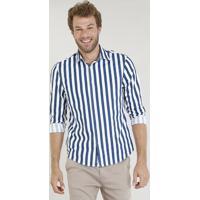 Camisa Masculina Comfort Listrada Manga Longa Branca 51e4e0c5daa03
