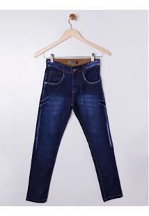 Calça Jeans Juvenil 7 Ganghts Masculina - Masculino-Azul